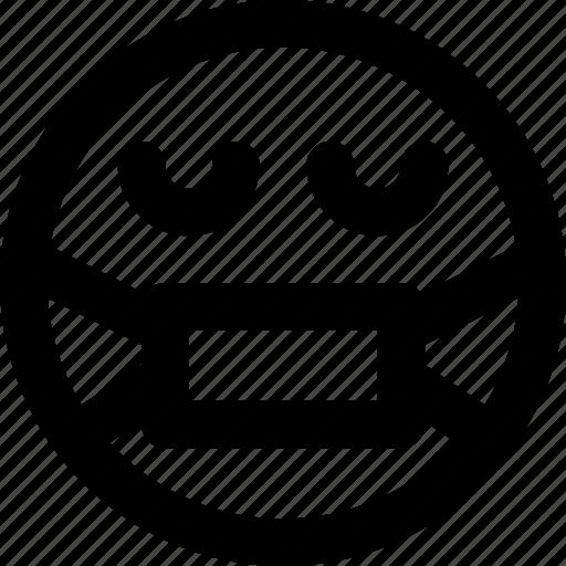 emoji, emoticons, face, secret icon