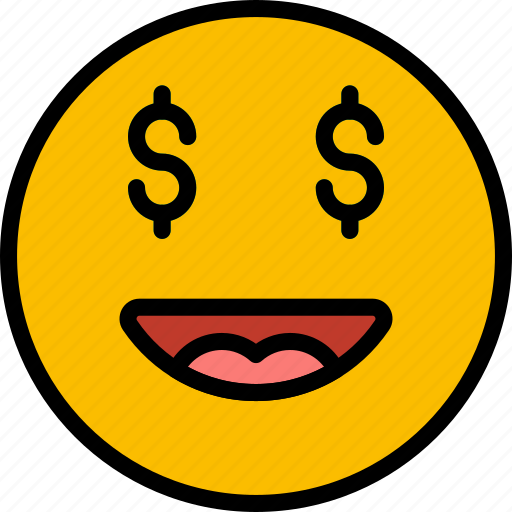emoji, emoticons, face, money icon