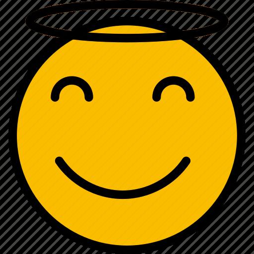 Emoticons, emoji, angel, face icon