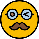 emoji, emoticons, face, moustache icon