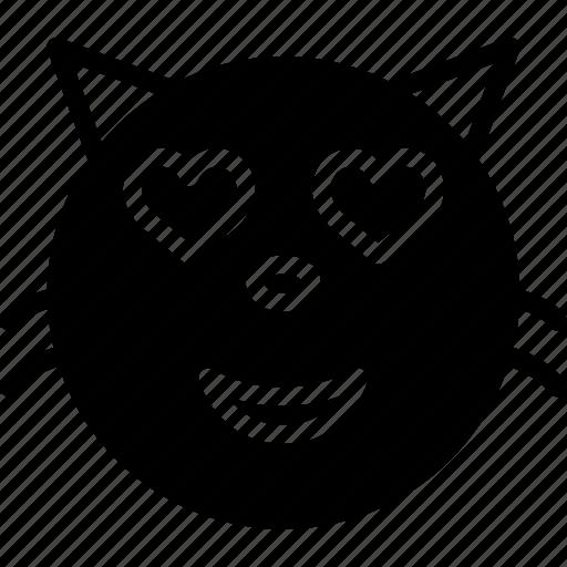 emoji, emoticons, face, in, love icon