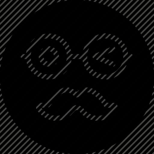 emoji, emoticons, face, moustache icon