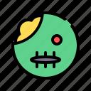 living corpse, zombie, horror, scary, emoji, emoticon, undead