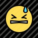 think hard, closing eyes, annoyed, hold back, emoji, emoticon, frustrated