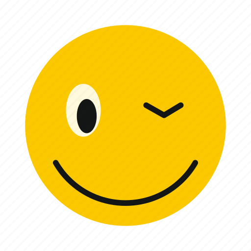 character, emoticon, emotion, happy, smile, smiley, winking icon