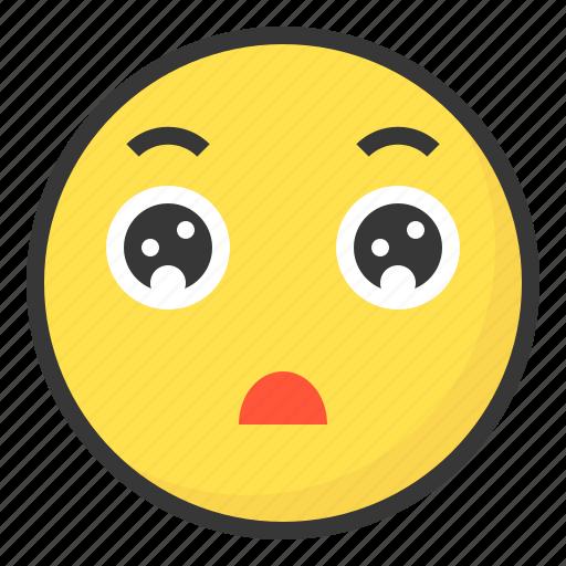 emoji, emoticon, expression, face, impress, surprise, wow icon