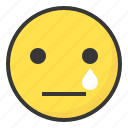 cry, emoji, emoticon, expression, face, sad icon
