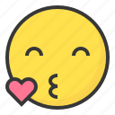 emoji, emoticon, expression, face, kiss, love icon