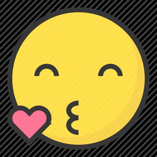 emoji, emoticon, expression, face, kiss, love icon
