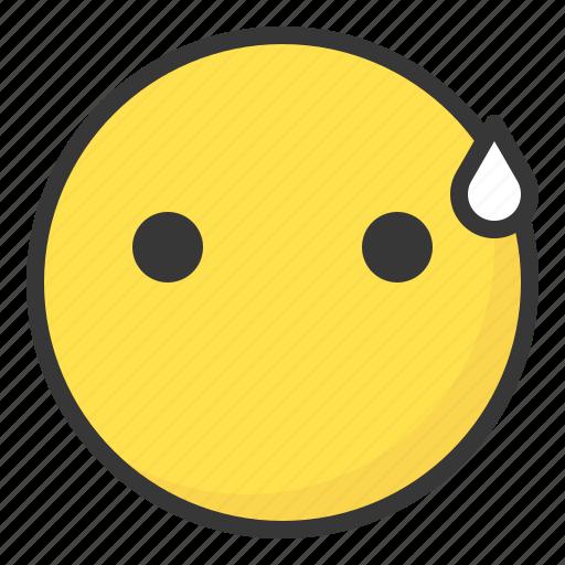 emoji, emoticon, expression, face, sweat icon