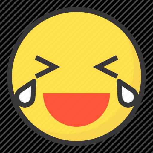 cry, emoji, emoticon, expression, face, laugh icon