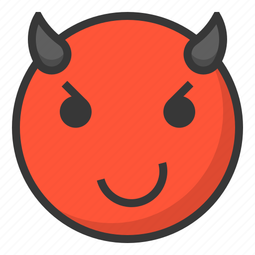 devil, emoji, emoticon, expression, face icon