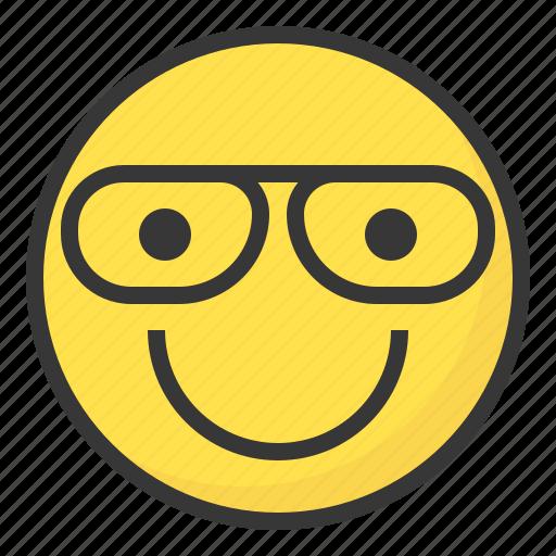 clever, emoji, emoticon, expression, face, glass icon