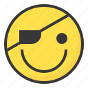 emoji, emoticon, expression, face, pirate