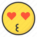 emoji, emoticon, expression, face, love, loved icon