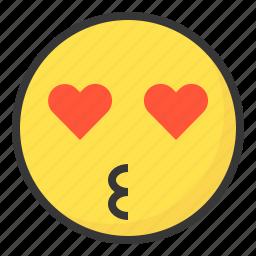 emoji, emoticon, expression, face, love, loved icon