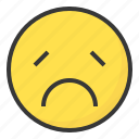 emoji, emoticon, expression, face, sad icon