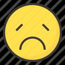 emoji, emoticon, expression, face, sad