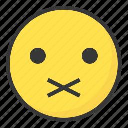 emoji, emoticon, expression, face, quiet, silent icon