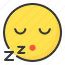 emoji, emoticon, expression, face, sleep icon