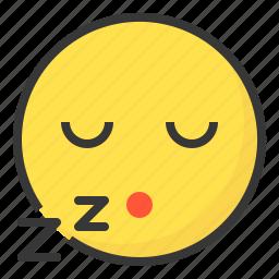 emoji, emoticon, expression, face, sleep icon