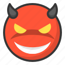 devil, emoji, emoticon, evil, expression, face icon