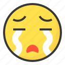 cry, emoji, emoticon, expression, face icon