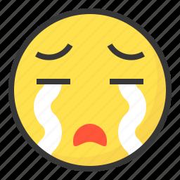 cry, emoji, emoticon, expression, face icon