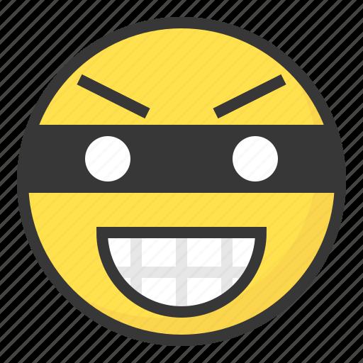 emoji, emoticon, expression, face, thief icon