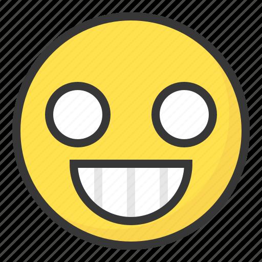 emoji, emoticon, excited, expression, face icon