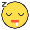 emoji, emoticon, expression, face, sleepy icon