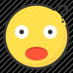 doubt, emoji, emoticon, expression, face, lost icon