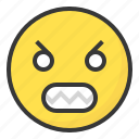 angry, emoji, emoticon, expression, face, unsatisfied icon