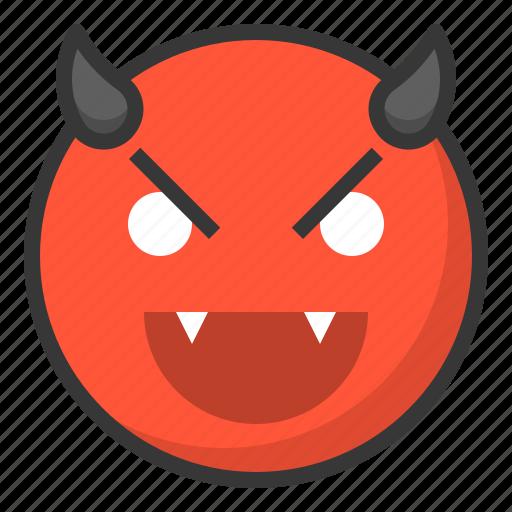 devil, emoji, emoticon, evil, expression, face icon