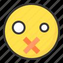 emoji, emoticon, expression, face, silent