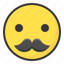 emoji, emoticon, expression, face, mustache icon