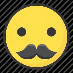 emoji, emoticon, expression, face, mustache icon