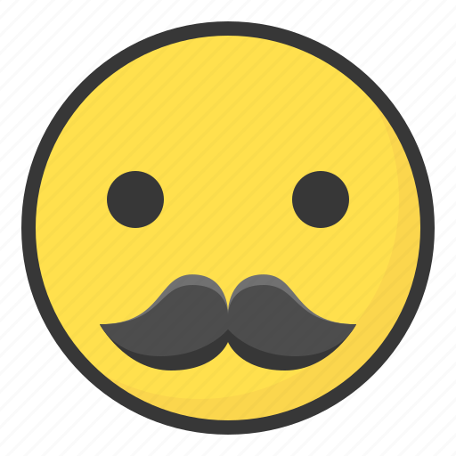 emoji emoticon expression face mustache icon
