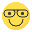 clever, emoji, emoticon, expression, face, glass icon