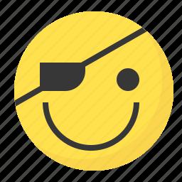emoji, emoticon, expression, face, pirate icon