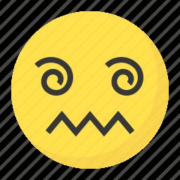confused, dizzy, emoji, emoticon, expression, face icon