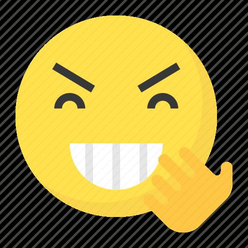 emoji, emoticon, expression, face, laugh icon