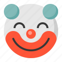 clown, emoji, emoticon, expression, face icon