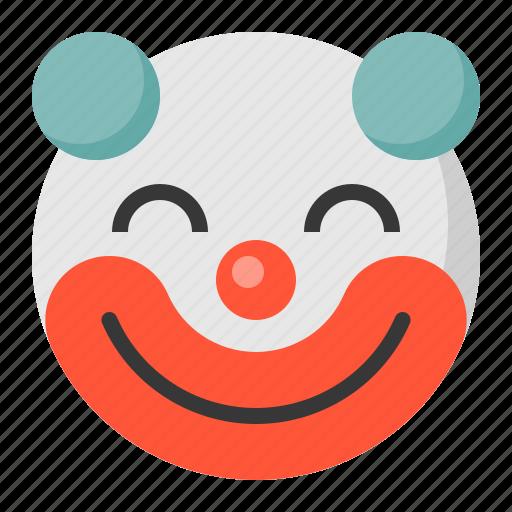 clown, emoji, emoticon, expression, face icon