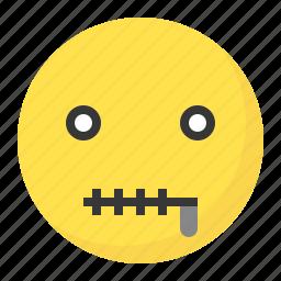 emoji, emoticon, expression, face, quiet, silence icon