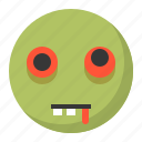 emoji, emoticon, expression, face, zombie icon