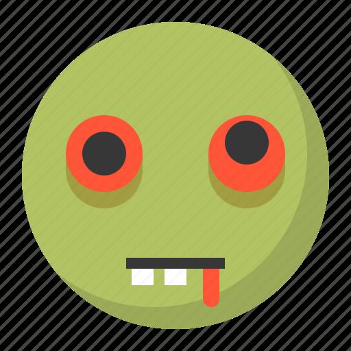 emoji, emoticon, expression, face, zombie icon