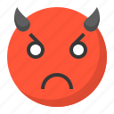 angry, devil, emoji, emoticon, evil, expression, face icon