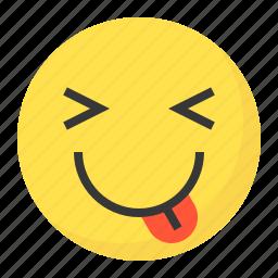 emoji, emoticon, expression, face, naughty icon