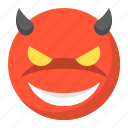 devil, emoji, emoticon, evil, expression, face